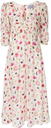Luisa Beccaria flower print V-neck dress
