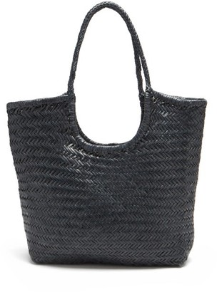 DRAGON DIFFUSION Triple Jump Small Woven-leather Basket Bag - Navy
