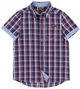 7 For All Mankind Boys Peacock Plaid Collared Shirt