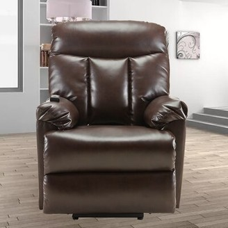 Latitude Run Chadia Faux Leather Power Recliner Fabric: Dark Brown Faux Leather