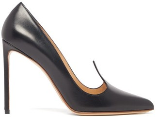 Francesco Russo Pointed-upper Leather Pumps - Womens - Black
