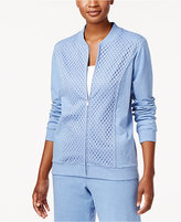 Alfred Dunner Long Weekend Lace Zip-Front Jacket