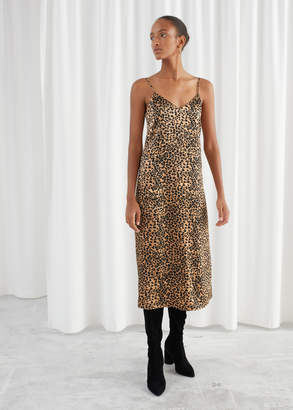 And other stories Satin Leopard Slip Dress