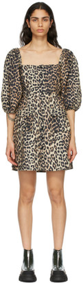Ganni Brown Poplin Leopard Mini Dress