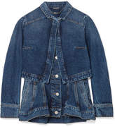 Alexander McQueen Layered Denim Peplum Jacket - Blue