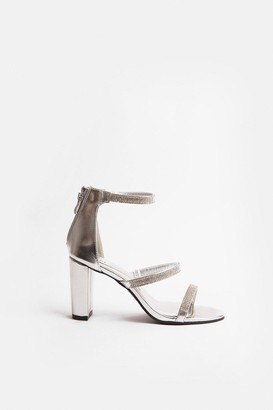 Coast Triple Diamante Strap Block Heel Sandal