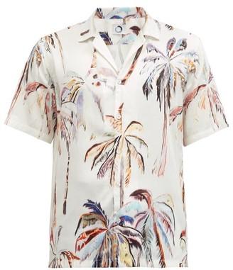 Endless Joy - Palm-print Cuban-collar Twill Shirt - White