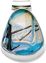 goldia Sterling Silver Teal Dichroic Glass Teardrop Pendant