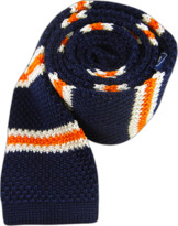 The Tie Bar Navy Knit Country Stripe Tie