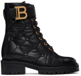 Balmain Black Quilted Ranger Boots