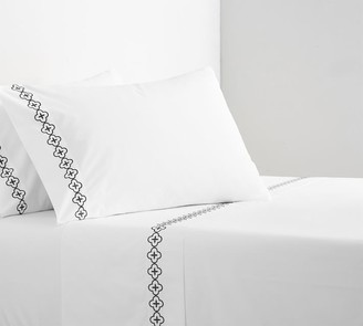 Pottery Barn Trellis Embroidered Organic Percale Sheet Set