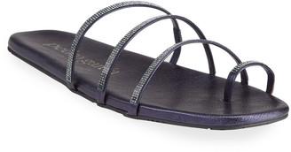 Pedro Garcia Beyda Laminated Goatskin Swarovski Flat Sandals