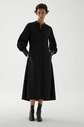 Cos Organic Cotton Collarless Shirt Dress