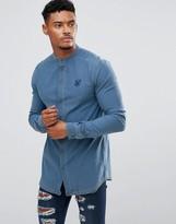 SikSilk Muscle Denim Shirt With Grandad Collar