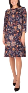 NY Collection Petite Floral-Print Grommet-Detail Dress