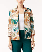 Alfred Dunner Petite Floral-Print Open-Front Jacket