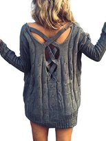 Berrygo Women's Fashion Full Sleeve Lace Up V Back Loose Knitted Pullover Sweater