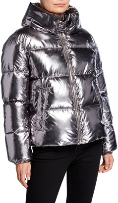 KENDALL + KYLIE Shiny Cropped Puffer Coat