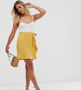 New Look mini ruffle wrap skirt in yellow