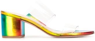 Schutz Holographic Block-Heel Sandals