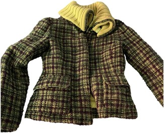 Moncler Green Wool Coat for Women