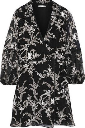 Alice + Olivia Gaston Fil Coupe Silk-blend Chiffon Mini Wrap Dress