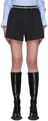 alexanderwang.t Logo elastic waistband pinstripe shorts