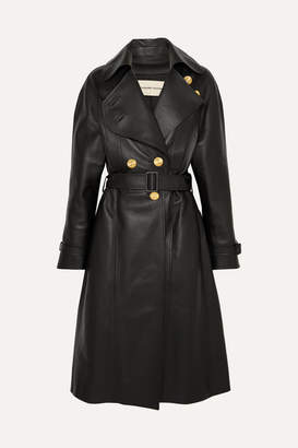 Alexandre Vauthier Double-breasted Leather Coat - Black