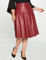 ELOQUII Plus Size Faux Leather Midi Skirt