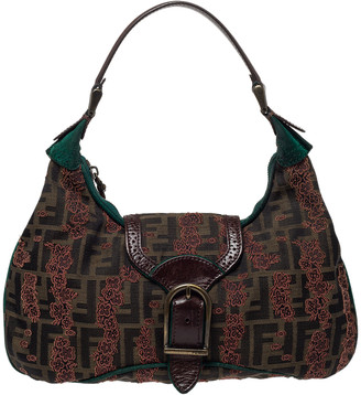 Fendi Brown/Green Zucca Floral Embroidered Canvas and Leather Buckle Flap Hobo