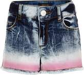 River Island Girls blue tie dye denim boyfriend shorts