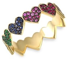 Sydney Evan Rainbow Heart Eternity Multi-Color Sapphires & 14K Yellow Gold Ring