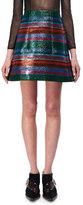 DELPOZO Lurex Striped A-Line Miniskirt