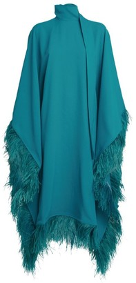 Taller Marmo Casta Diva Feather-Trim Kaftan Dress