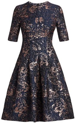 Teri Jon By Rickie Freeman Metallic Jacquard A-Line Dress