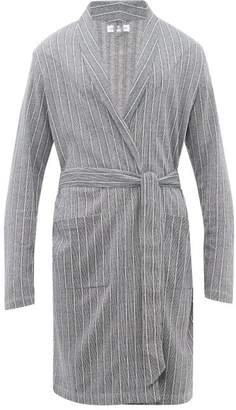 Hamilton And Hare - Relax Decking-stripe Cotton Robe - Mens - Navy Multi