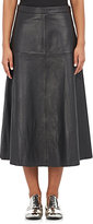 R/R Studio by Robert Rodriguez Women's Leather A-Line Midi-Skirt-BLACK