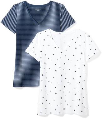 Amazon Essentials Women's 2-Pack Classic-Fit Short-Sleeve V-Neck Patterned T-Shirt