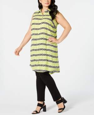 Alfani Plus Size Convertible Printed Button-Front Tunic Top, Created for Macy's