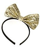Gold Glitter Design Stiffened Bow Motif Alice Hair Band Headband by Pritties Accessories