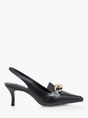 Dune California Leather Chain Detail Slingback Court Shoes