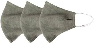 Rumour London Pack Of 3 Linen Protective Cloth Mask In Green
