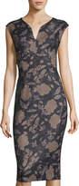 Label By 5twelve Floral Bonded Scuba Crepe Sheath Dress