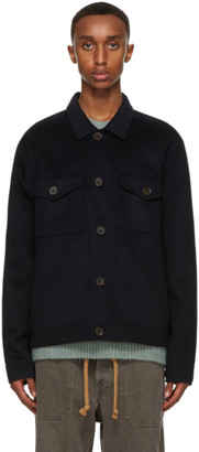 Nanushka Navy Wool Rhyes Jacket