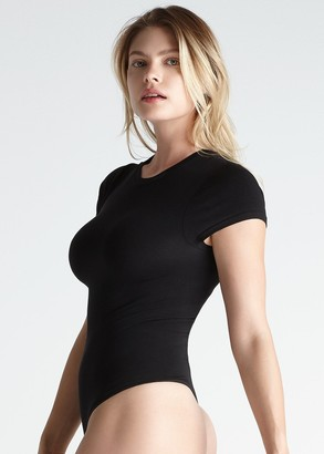 Yummie Short Sleeve Shaping Thong Back Bodysuit