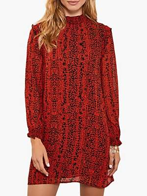 Mint Velvet Kiera Leopard Dress, Red/Black