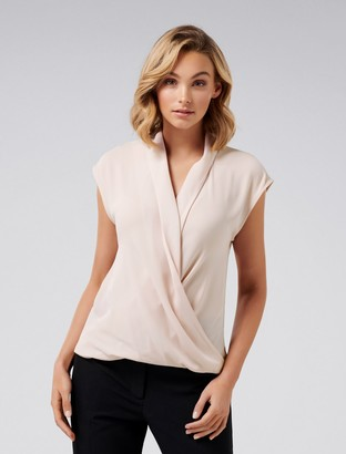 Forever New Eleanor Wrap Blouse - Rose Smoke - 4