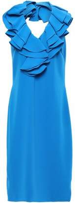 Mikael Aghal Ruffle-trimmed Cady Halterneck Dress
