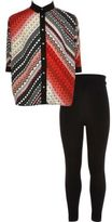 River Island Girls red Aztec shirt and leggings outfit