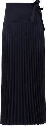 Chloé Knife-pleated Crepe Midi Skirt - Navy